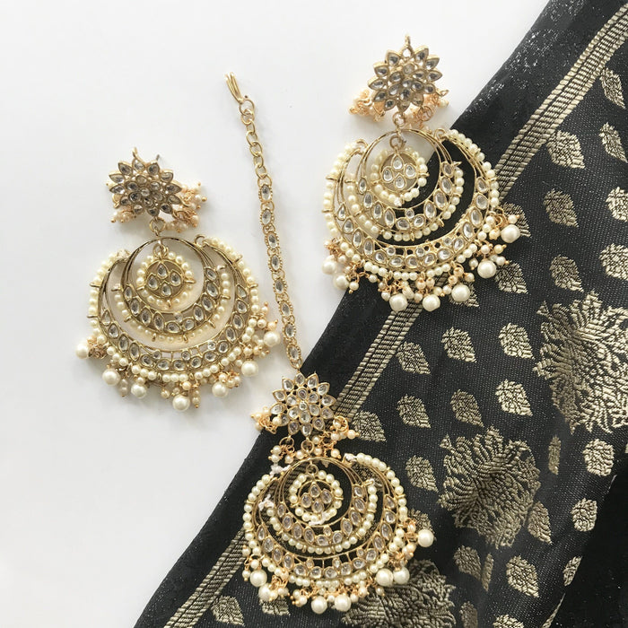 Party All Night, Earrings + Tikka - THE KUNDAN SHOP