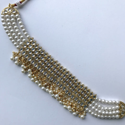 Wrapped in White, Necklace Sets - THE KUNDAN SHOP