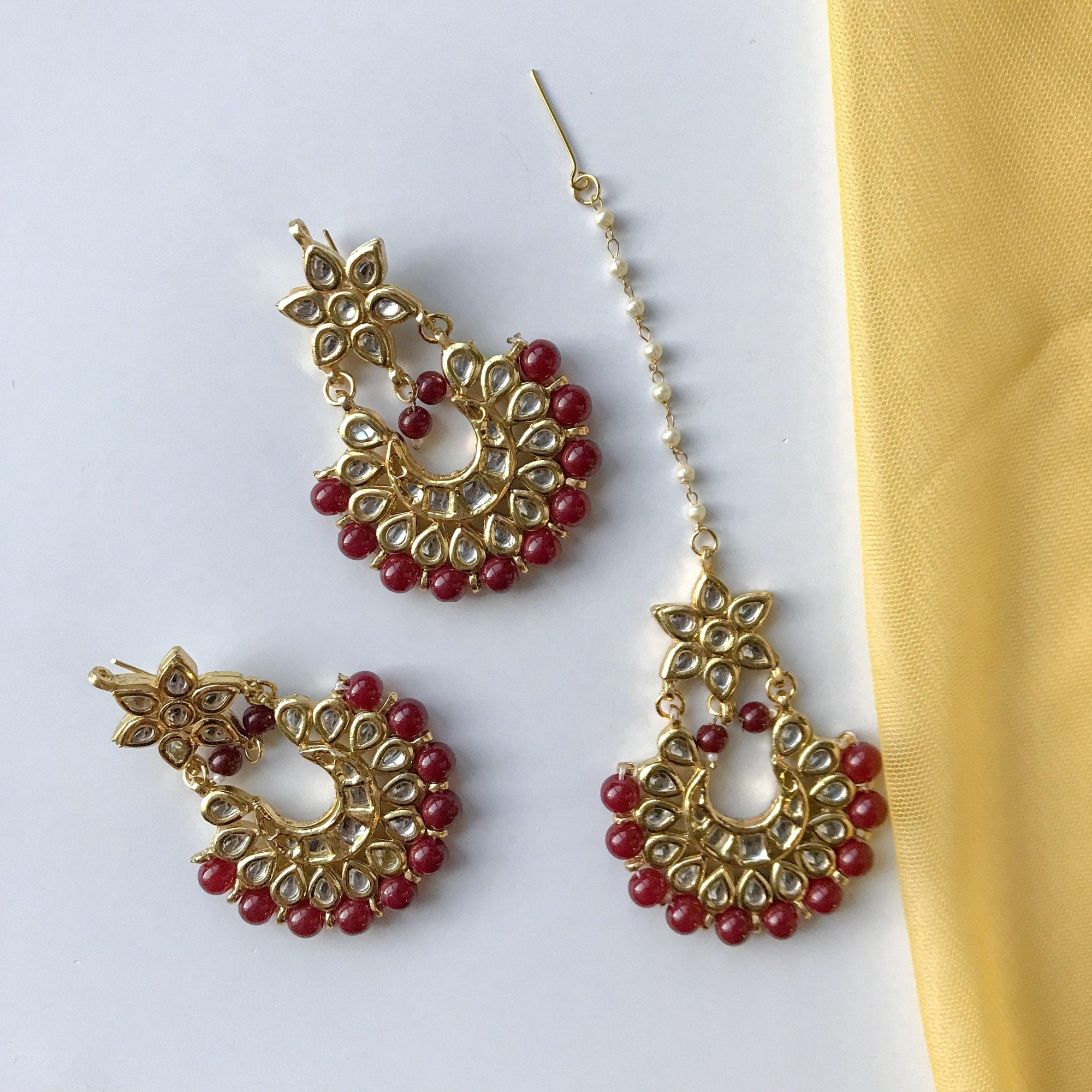 The Stars Align, Earrings + Tikka - THE KUNDAN SHOP
