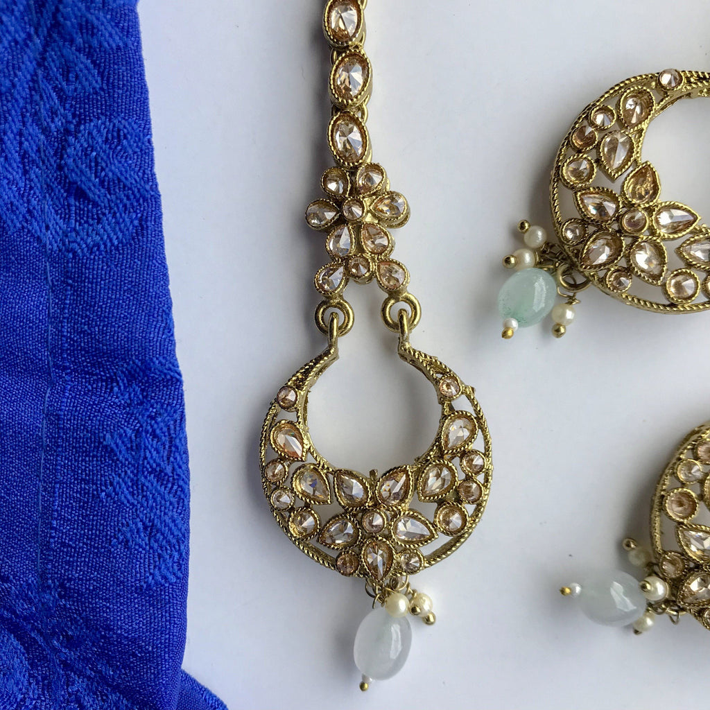 Pretty Little Polki, Earrings + Tikka - THE KUNDAN SHOP