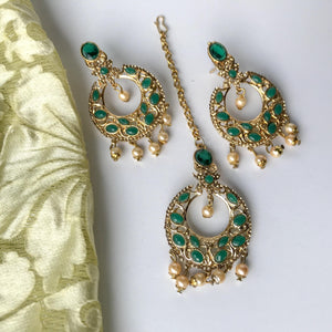 Bottle Green, Earrings + Tikka - THE KUNDAN SHOP