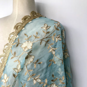 Blue Skies Organza Dupatta, Dupatta - THE KUNDAN SHOP