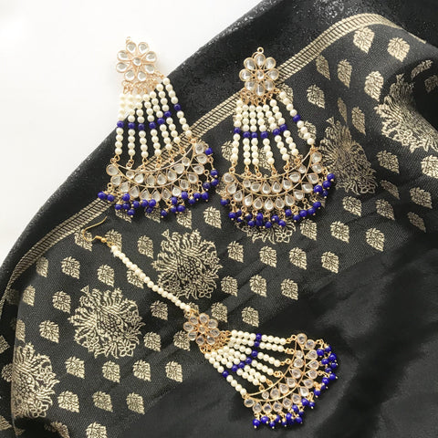 Long Lasting Passa Style Set, Earrings + Tikka - THE KUNDAN SHOP