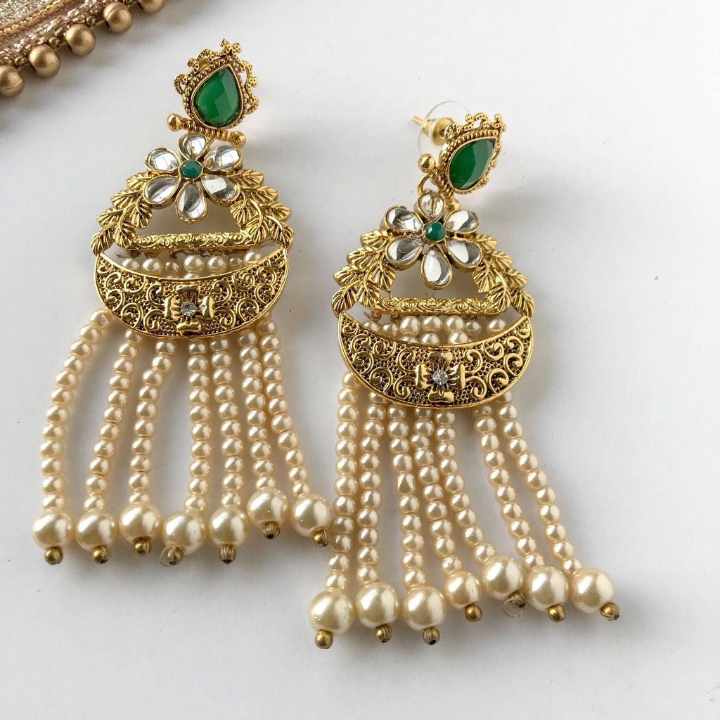 Seven Strings of Pearl, Earrings + Tikka - THE KUNDAN SHOP