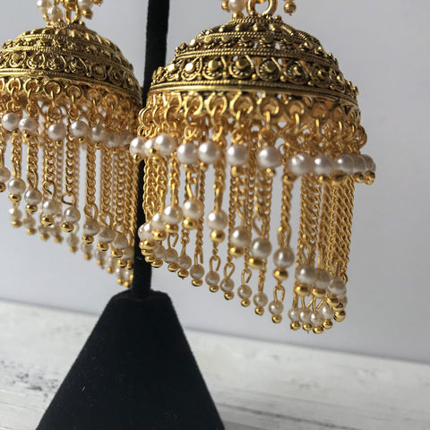 Tassel Aged Jumki, Earrings + Tikka - THE KUNDAN SHOP