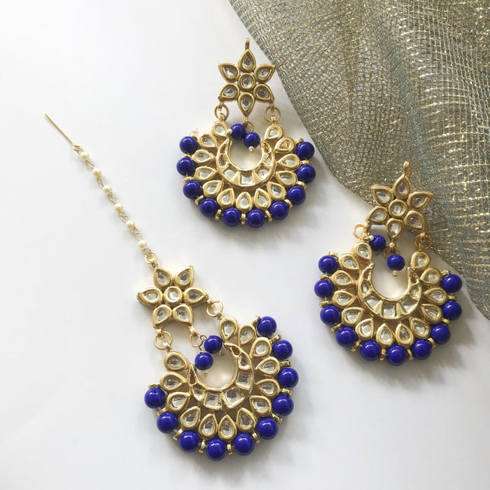 The Stars Align - Blue, Earrings + Tikka - THE KUNDAN SHOP