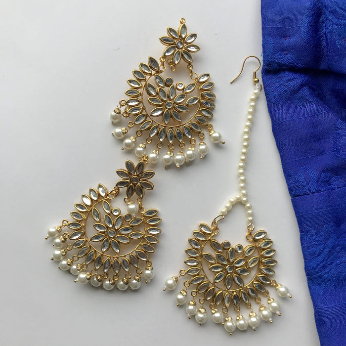 Long Petals Tikka Set, Earrings + Tikka - THE KUNDAN SHOP
