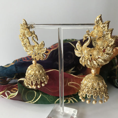 The Golden Moorni, Earrings + Tikka - THE KUNDAN SHOP