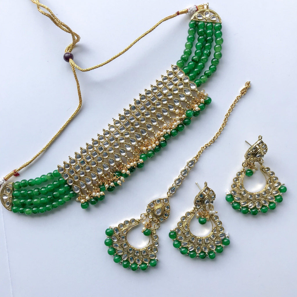 Wrapped in Green, Necklace Sets - THE KUNDAN SHOP