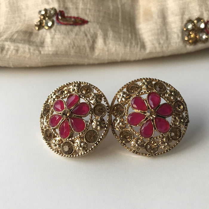 Round Gem Studs, Studs - THE KUNDAN SHOP