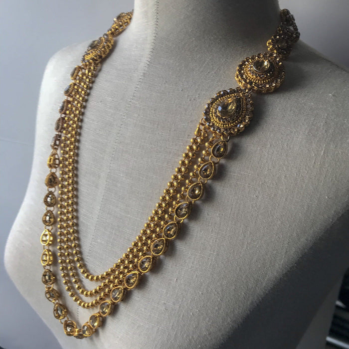 Teardrop Bronze Raani Haar Set, Necklace Sets - THE KUNDAN SHOP