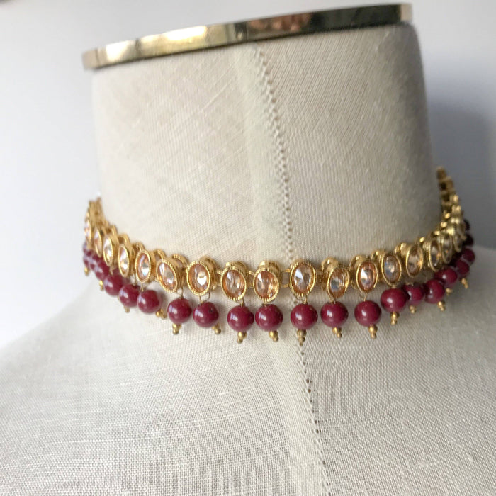 Single Polki & Ruby, Necklace Sets - THE KUNDAN SHOP