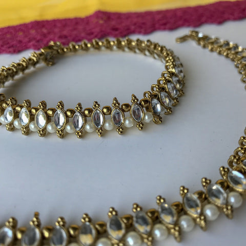 Pearl & Gem Payal, Anklets - THE KUNDAN SHOP
