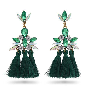Long Way - Green & Red, Earrings - THE KUNDAN SHOP