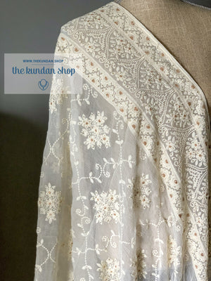 Lucknowi Border, Dupatta - THE KUNDAN SHOP