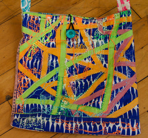 A Sam Juliana Bag / one-of-a-kind / collaged, hand-painted & hand-embroidered