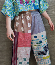 "Topographical Map of a Melody / Elliott Pants / one-of-a-kind / collaged / waist size 28""-40"""