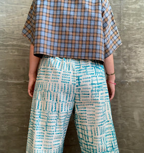 Teal Lines / Elliott Pants / one-of-a-kind / hand-painted