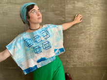 5 Cubes / Juniper Crop Tee /  one-of-a-kind / hand-painted