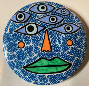 6 Eyes & Green Lips / ART PIN / one-of-a-kind