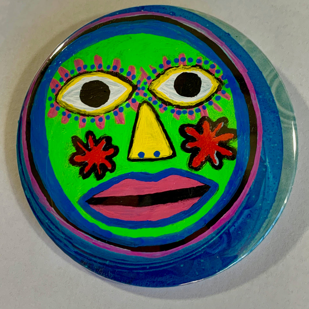 Fresh-Faced Alien / ART PIN / one-of-a-kind & hand-painted