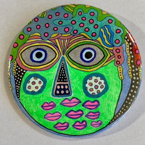 Green Creature / ART PIN / one-of-a-kind & hand-painted