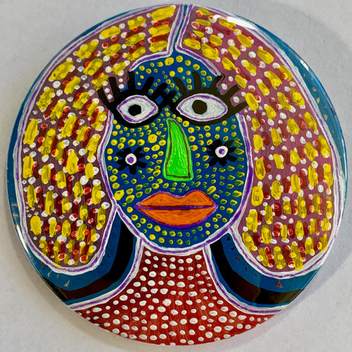 Long Eyelashes & A Green Nose / ART PIN / one-of-a-kind & hand-painted