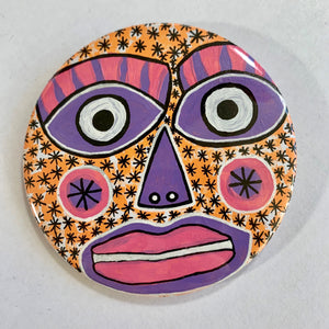 Eye-Catching  / ART PIN / one-of-a-kind & hand-painted