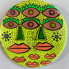 6 Eyes & 2 Green Noses / ART PIN / one-of-a-kind & hand-painted