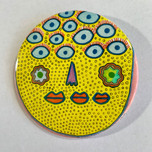 12 Blue Eyes / ART PIN / one-of-a-kind & hand-painted