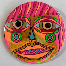 Pink Hair & A Blue Nose / ART PIN / one-of-a-kind & hand-painted