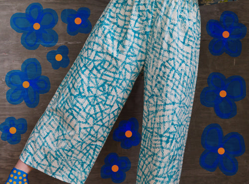 Teal Lines / Elliott Pants / one-of-a-kind / hand-painted / waist size 26