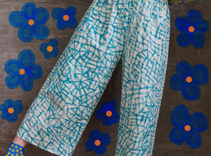 "Teal Lines / Elliott Pants / one-of-a-kind / hand-painted / waist size 26""-36"""