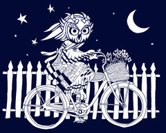 owl on a commuter bike, owl lady, owl woman