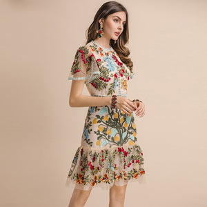 FRENCH RIVIERA Resort Wear Flare Sleeve Floral Embroidery Mesh Mini Dress