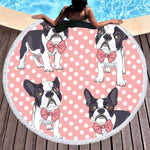 PUPPY PINK Bow Tie Round Beach Towel Blanket