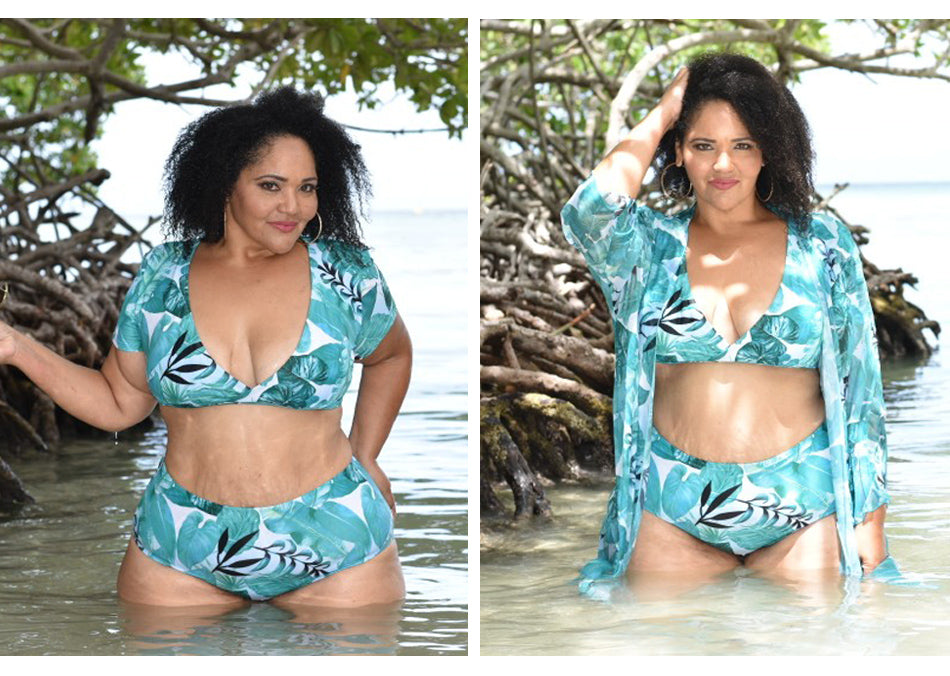 ROSIE Plus Size Floral Print Bikini & Cover Up