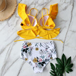 LEXI Ruffled Cross Bandage High Waist Bikini