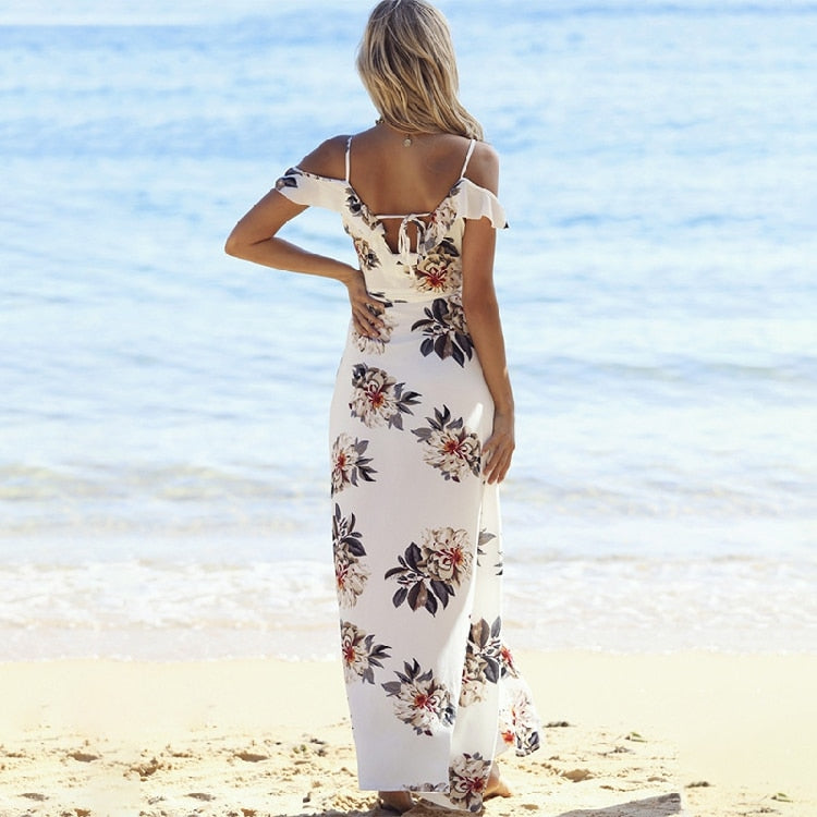 MIAMI BEACH Resort Wear Floral Print Ruffles Off the Shoulder Dress