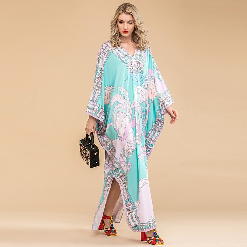 CASA BLANCA Turquoise V Neck Batwing Sleeve Printed Long Dress