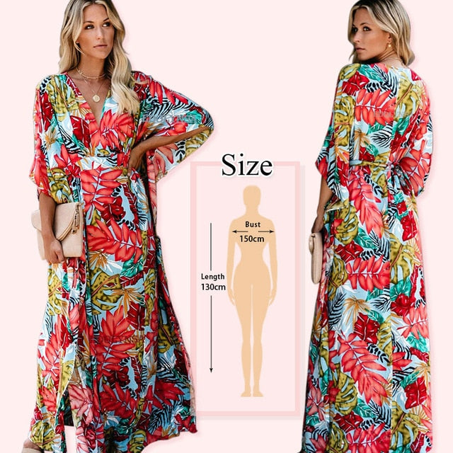 RED BOHEMIAN Floral Summer Beach Wrap Dress