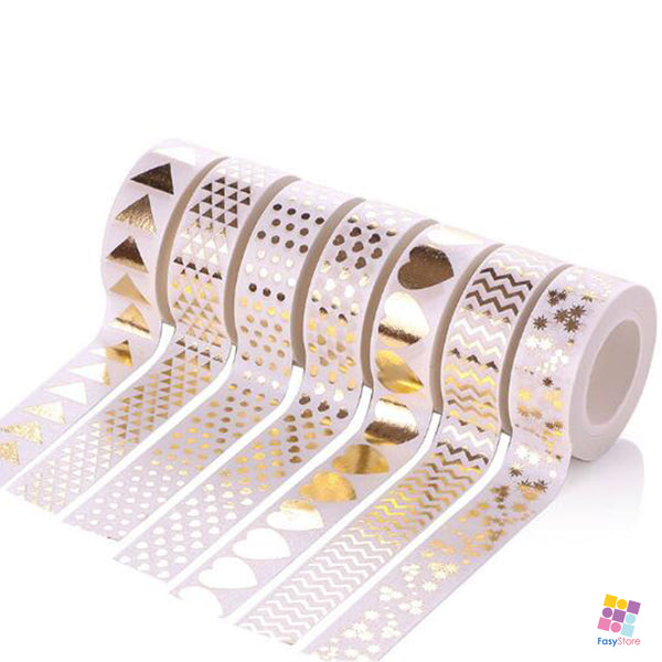 White Collection - 10m Foiled Washi Tape