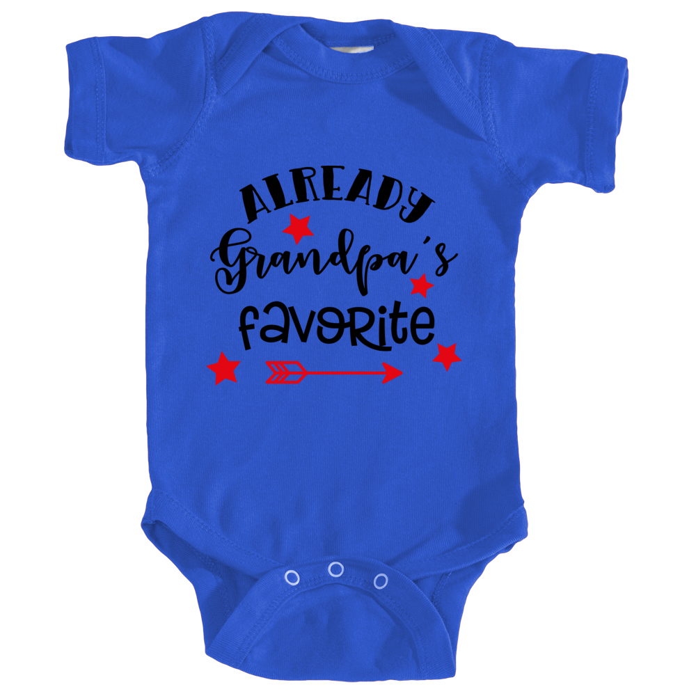 Already Grandpa's Favorite Onesie in Royal Blue