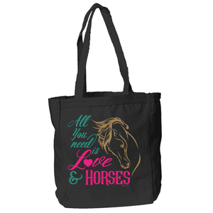 Horses and Love Tote Bag in Black