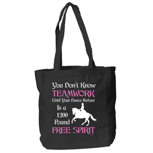 Dressage Teamwork Tote Bag in Black