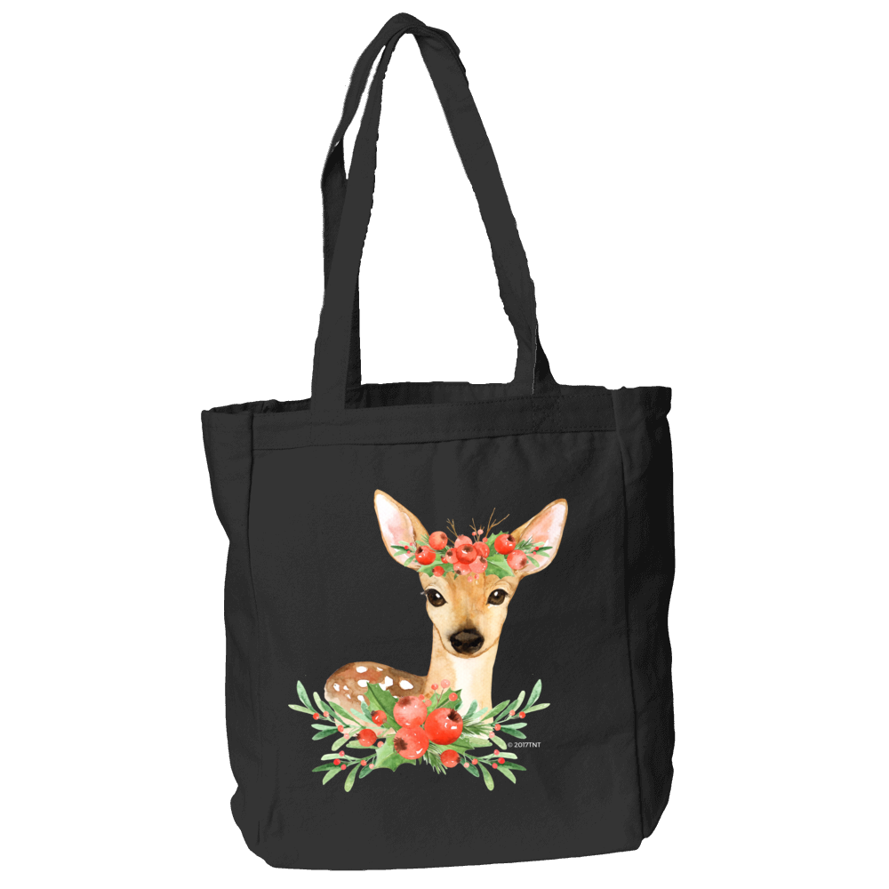 Winter Deer Tote Bag in Black