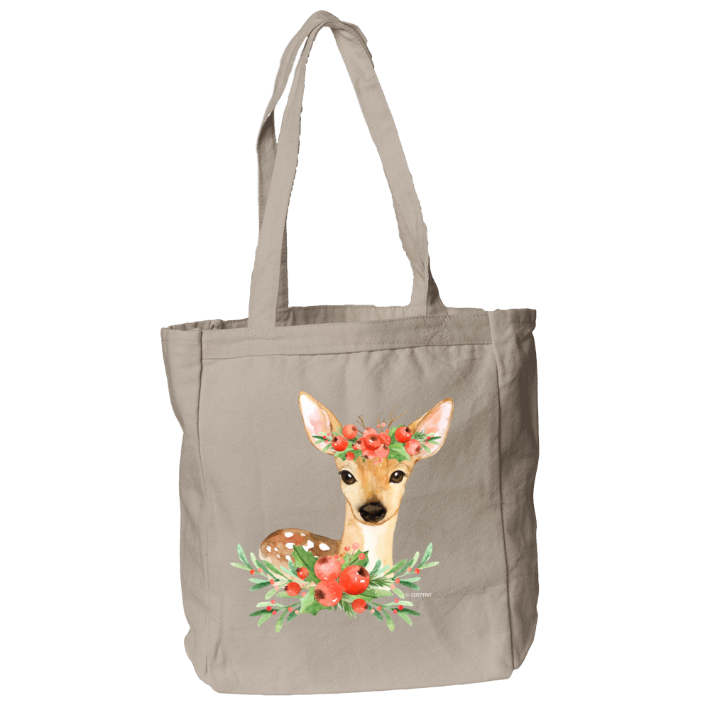 Winter Deer Tote Bag in Natural