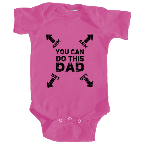 Dad You Can Do This Instructions Onesie in Berry Pink