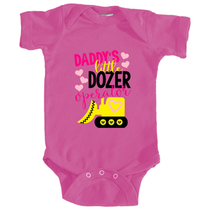 Daddy's Little Dozer Operator Onesie in Berry Pink