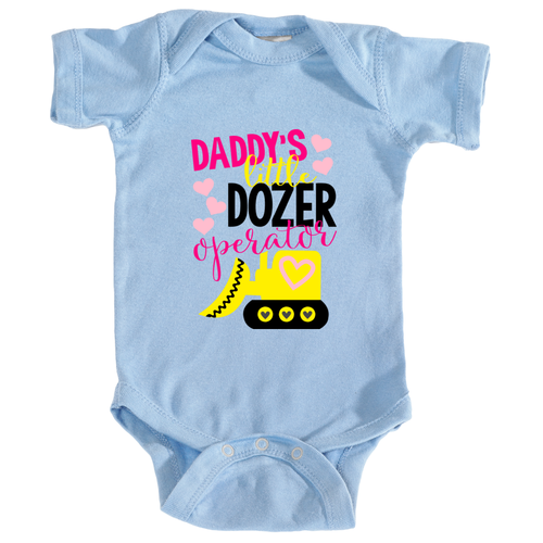 Daddy's Little Dozer Operator Onesie in Snowflake Blue